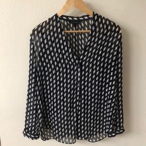 Banana Republic Blouse  Small navy blue with white